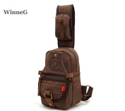 WinneG Canvas Unisex Single Shoulder Chest Bag Mens Small Sling Pack with Durable Strap