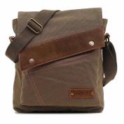 VRIKOO Unisex Small Vintage Canvas Leather Shoulder Bag Messenger Travel Bag Satchel Crossbody Bags