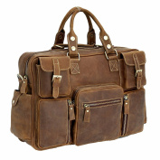 Jsix Mens Genuine Leather Handbags 41cm Briefcases Shoulder Bag Brown Vintage