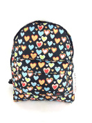 METRO GIRLS LADIES LOVE HEARTS SCHOOL COLLEGE TRAVEL BACKPACK RUCKSACK BAG NEW BLACK