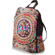 BYCE Women Handmade Flower Embroidered Bag Canvas National Trend Embroidery Ethnic Backpack Travel Bags Schoolbags Mochila
