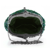 Ashdown Lady Evening Clutches Handmade Party Prom Wedding Evening Handbags,Peacock Green