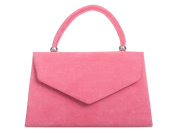 New ladies Pink Blush mini handbag clutch bag shoulder evening faux suede uk Accessorise-Me