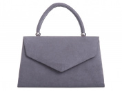 New ladies Charcoal Grey mini handbag clutch bag shoulder evening faux suede uk Accessorise-Me