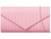 New ladies faux leather snakeskin pink clutch bag handbag shoulder bag. Uk seller