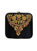 Black Emroidered Square Clutch by Tresclassy