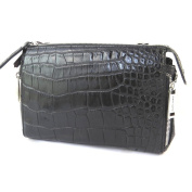 "Leather bag 'Gianni Conti'black crocodile - 27x17x9 cm (10.63""x6.69""x3.54"")."