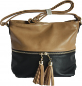 Ladies Two Tone Designer Crossbody \ Messenger Handbag with Tassel Detail by DL Accessories - Paris