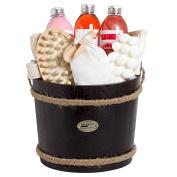 BRUBAKER Cosmetics Wooden Pail Spa Bath Gift Set 'Cranberry'