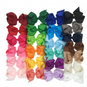 Grosgrain Ribbon 15cm Hair Bows With clips for Baby Girls Pack of 25