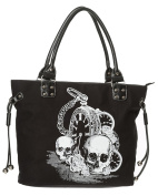 "Banned Apparel ""Back in Black"" Skull & Clock Gothic Rockabilly Womens Handbag"