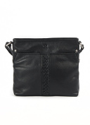 Black Leather Plait Detail Leather Shoulder Bag