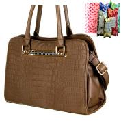 Quality Brown crocodile skin patent Handbag Elegant Womens Designer Inspired snake skin embossed snakeskin Shoulder Bag in free gift bag