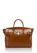 Laura Moretti - Leather handbag with buckles, SATCHEL style