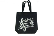 PartyErasers Music Themed Black Treble Clef Music Design Zipped Tote Bag