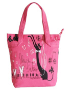 PartyErasers Music Themed Pink Tote Bag with Black Cat