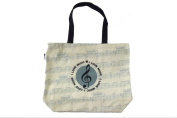 PartyErasers Music Themed . Horizontal Tote Bag - Canvas with Soft PVC layer Waterproof - Beige Round Treble Clef