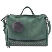 Women¡¯s Retro Rivet Totes Locomotive Handbag Shoulder Bags Green