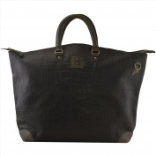Hammer Coal Female Leather Large Tote Bag with Embossing Black