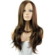 Tonake Long Brown Curly Wavy Hair Wig Synthetic Women Girl Wig