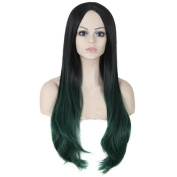 Tonake Women Long Slight Curly Ombre Synthetic Hair Wig