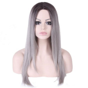 Tonake Long Straight Dark Roots Ombre Black to Grey Synthetic Hair Wig for Women WL9161