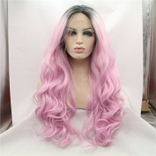 honey pink ombre wig with dark roots premium black to pink body wave synthetic lace front wig heat resistant fibre hair
