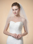 Remedios 2 Tier Elbow Bridal Veil Beaded Edge 80cm in Tulle Ivory