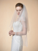 Remedios 2 Tier Fingertip Wedding Bridal Veil Beaded and Pearl Edge 90cm in Ivory