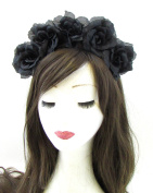 Large Black Sugar Skull Flower Hair Crown Headband Rose Halloween Big Goth 700 *EXCLUSIVELY SOLD BY STARCROSSED BEAUTY*