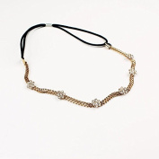 Hair Chain Metal Headband : Flat Gold Chain with Rhinestone Flowers