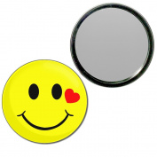 Smiley with Heart - 77mm Round Compact Mirror