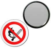 No Naked Flames - 77mm Round Compact Mirror