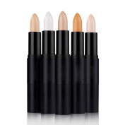 Saebye 5pcs Face Makeup Contouring Double-ended Highlighter Bronzer Stick /Three-dimensional Face Primer Cream Stick