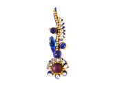 Teeliya® » 1 x Fancy Bindi ✮ Blue ✮ Large ✮ Tikka ✮ Indian Art ✮ Temporary Tattoo ✮ Wedding and Party Accessoires ✮ Fashion Jewellery