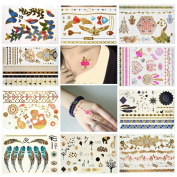 Temporary Tattoos 10 Sheets Body Paints, SUMERSHA Fashion Temporary Tattoos Metallic Tattoos Waterproof 47 Different Patterns Lotus, Koi Fish, Wings, Sexy Lady
