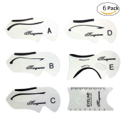 NALATI 6PCS Eyebrows Stencils Makeup Eyeliner Models Template Top Bottom Eyeliner Card for Eye Auxiliary Tools