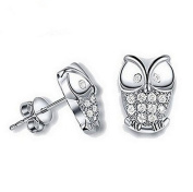 Hosaire 1 Pair Fashion Sterling Silver Owl Crystal Ear Stud Earrings