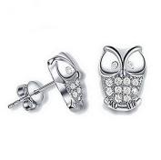 Hosaire 1 Pair Fashion Sterling Silver Owl Crystal Ear Stud Earrings
