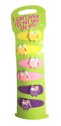6 Bright Owl Charm Hair Clips Hair Grips Snap on Slides