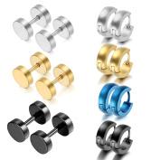 Oidea 14pcs Wholesale Assorted Style,Colour Stainless Steel Piercing Hingied Hoop Earrings,Stud Earrings,Hypoallergenic