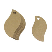 100pcs Rustic Lovely Bird Leaf Shape 50mmx30mm Mini Kraft Paper Card Wedding Favour Gift Tag