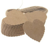 100 Pcs Kraft Paper Tag Heart Shape Favour Gift Tags with Jute Twines