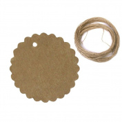 100pcs Small Round Flower Brown Kraft Paper Tag Favour Gift Tags with 20M Twine String
