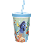 Zak! Designs Insulated Tumbler with Screw-on Lid and Straw featuring Finding Dory Graphics, Break-resistant and BPA-free Plastic, 380ml