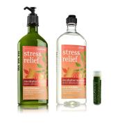 Bath & Body Works Aromatherapy Stress Relief Eucalyptus Tangerine Body Lotion 6.5 fl.oz/192 mL & Body Wash & Foam Bath 10 fl.oz/295 mL with a Jarosa Bee Organic Peppermint Lip Balm