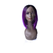 HMT-Store Synthetic Colourful Hair Wigs 36cm Short Straight Bob Wigs With Lace Front