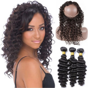 ZM Hair Natural Black Colour Human Hair Deep Wave 360 Free Part Lace Band Frontal Closure with 3 Bundles