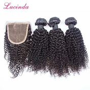 Prida Star 4pc Brazilian Human Hair Natural Colour Kinky Curly Hair Weaves 3 Bundles With Lace Closure