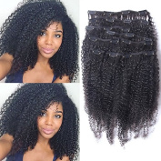 Foxys' Hair Brazilian Afro Kinky Curly Clip In Hair Extensions Virgin Human Hair Clip Ins Full Head Set 200g 9Pcs Natural colour 36cm